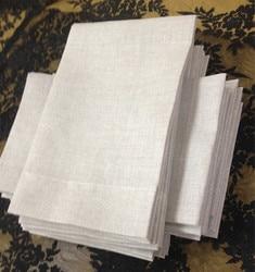 Set di 48 di Modo di Lino Fazzoletti con bordi di Colore Cucitura Farina D'avena Linen Guest Asciugamani/Asciugamani per le mani Per Le Occasioni 14x22-inch