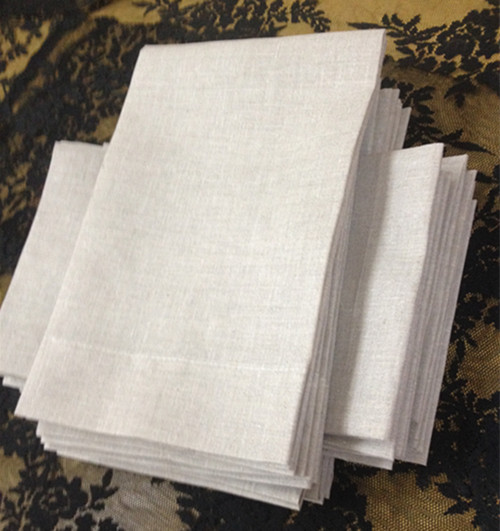 Set Of 48 Fashion Linen Handkerchiefs With Seaming Edges Color Oatmeal Linen Guest Towels /Hand Towels For Occasions 14x22-inch