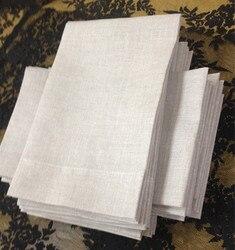 Set von 48 Mode Leinen Taschentücher mit Falzen kanten Farbe Haferflocken Leinen Gast Handtücher/Hand Handtücher Für Gelegenheiten 14x22-inch