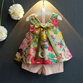 Girls Clothing Sets New Summer 2017 Fashion Style Children Cute Flowers Printed Vest+Solid Pink Shorts 2Pcs for Girls Clothes