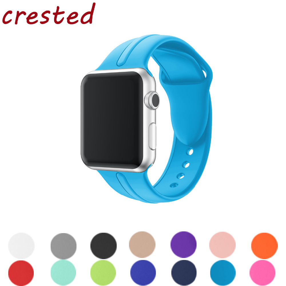 CRESTED silicone strap band for apple watch 42mm/38mm bracelet watchband for iwatch 3/2/1 rubber wrist and with metal buckle crested new arrival colorful silicone strap for iwatch 1 2 apple watch nike 42mm rubber sport bracelet wrist band with adapter