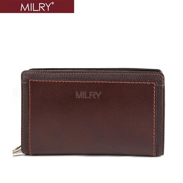 Free shipping MILRY 100% Genuine Leather  Wrist Bag Clutch bag for men wallet card holder fashion new handbag coffe  H0003-2