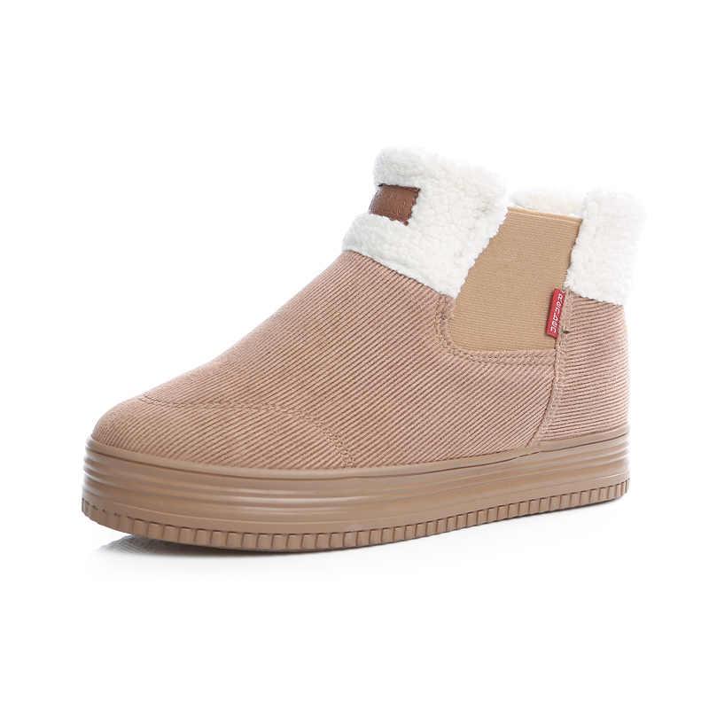 2018 Kadın Kış Kar Botları kadın yarım çizmeler Düz kaymaz Termal Kış Kürk sıcak ayakkabı Pamuk Çizmeler Botas Mujer