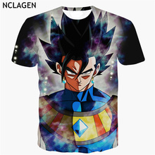 NCLAGEN Men Short Sleeve 3D T Shirt Dragon Ball Super Ultra Instinct Batra Fit Vegito Print Cartoon T-Shirt Top Tee Plus Size