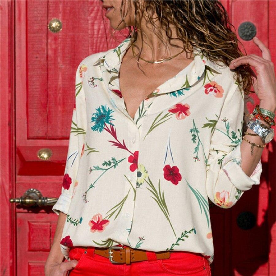 Elegant Women   Blouses   Long Sleeve Lapel Print   Shirt   Office Button Chiffon   Blouse     Shirts   Striped Plus Size Tops Work Blusas 3XL
