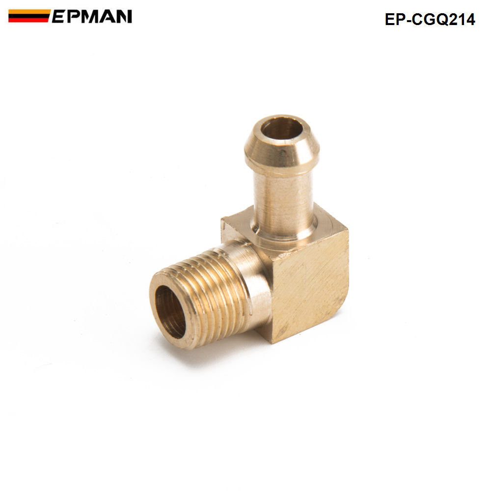 Brass Boost Hose Barb to Male Thread 90 Degree Elbow Fitting For Garrett T2 T3 Turbo 1/8Male NPT 90 Degree EP-CGQ214 10 x pneumatic 10mm to 3 8 pt male thread 90 degree elbow pipe quick fittings