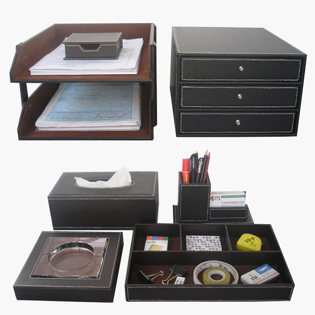 Wholesale 7pcsset luxury leather office desk stationery organizer wholesale 7pcsset luxury leather office desk stationery organizer file cabinet business card holder tissue colourmoves