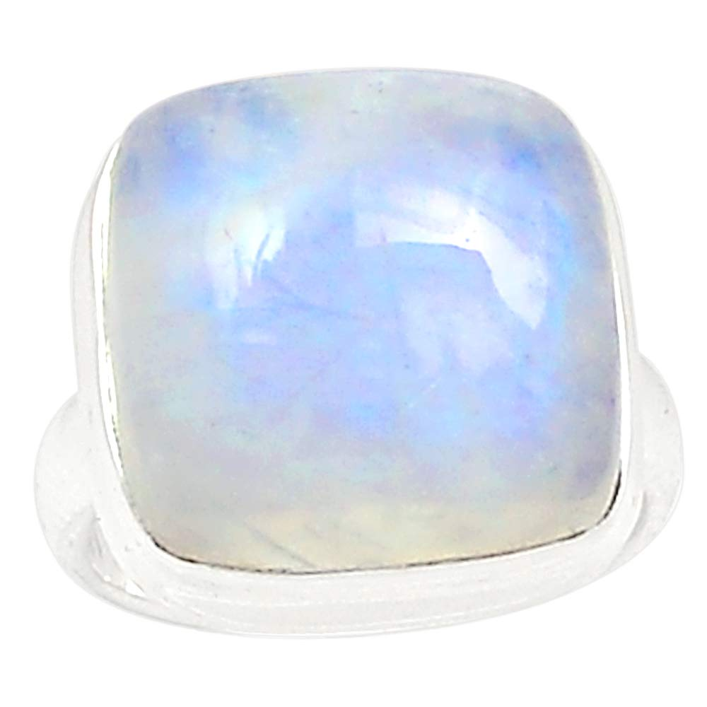 NiaoZaiFei YunZaiKan Genuine Blue Fire Moonstone Ring 925 Sterling Silver,USA Size :6.25, MHBAR3976NiaoZaiFei YunZaiKan Genuine Blue Fire Moonstone Ring 925 Sterling Silver,USA Size :6.25, MHBAR3976