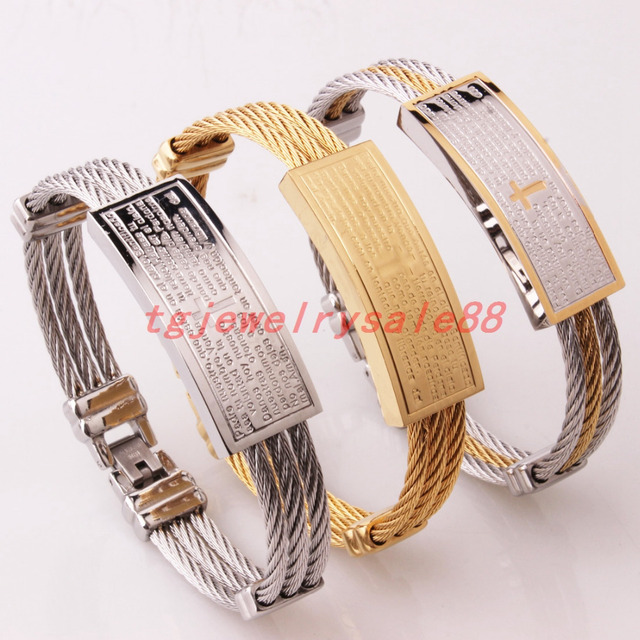 New Arrived Stainless Steel Spanish Bible Cross Wire Cable Bracelet ...