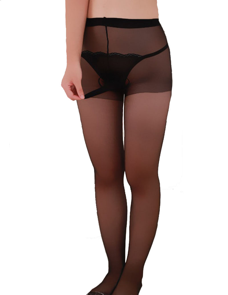 Sexy Sissy Fetish Mens See Through Pantyhose Stockings with Crotch Sheath Close Adult Fantasy Role Play Lingerie