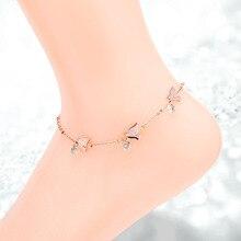 Нержавеющая сталь ласточка подвески ног цепь розовое золото цвет мода ножной браслет для женщин