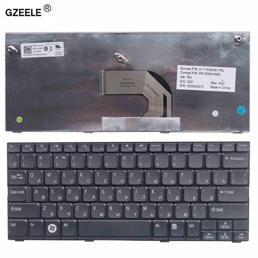 GZEELE NEW RU Laptop Keyboard For Dell  Inspiron Mini 10-1012 1014 1015 1018 P04T PK130F11A01 PK130F12A12 RU RUSSIAN Keyboard