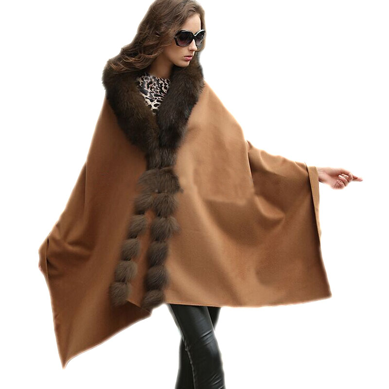 100% Real Cashmere Wraps Women Real Fox Fur Poncho Female Cloak Coat Lady Winter Cape/Shawl/ BROWN