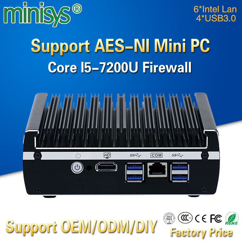 Minisys Small Home Firewall Server 6 Lan Port Intel Kaby lake Core I5-7200U CPU Fanless VPN Pfsense Mini PC With 4 USB3.0 AES-NI