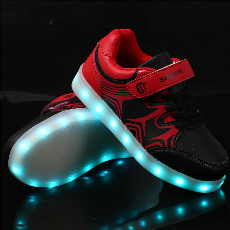 2017New luminous shoes sports shoes fashion USB charging colorful LED lights male and female children casual shoes size 25-35