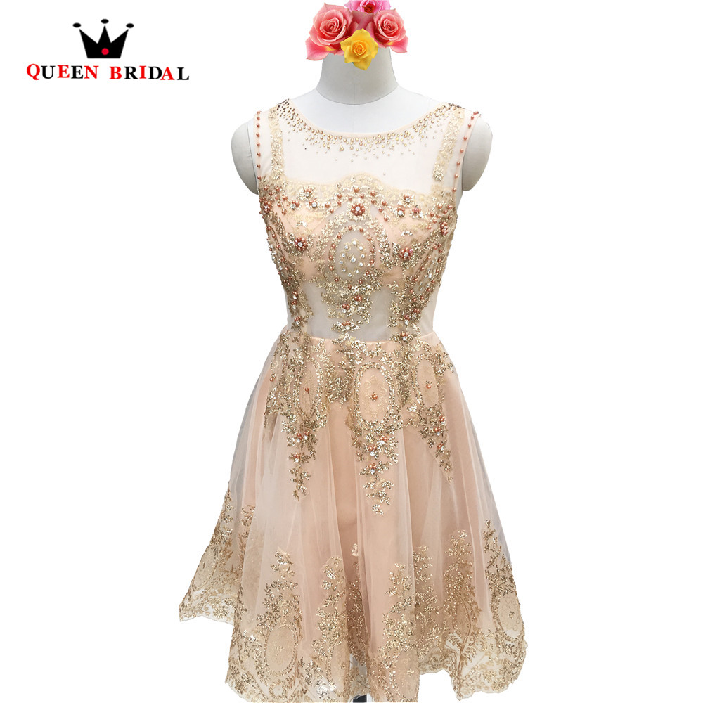 Crystal Beading Lace Short Luxury Gold Evening Dresses Evening Gown 2018 New Fashion Party Dress Robe De Soiree DR9