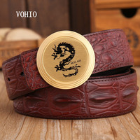 VOHIO Personality leather dragon round head belt luxury with crocodile grain quality band men with luxury men jeans Solid brass