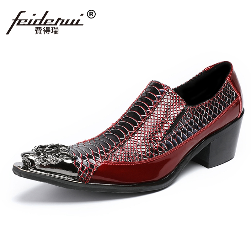 Plus Size Genuine Leather Metal Tipped Man Loafers Pointed Toe Slip on Alligator High Heels Men's Banquet Runway Shoes SL421 недорго, оригинальная цена