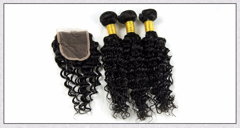 Brazilian Virgin Hair Deep Wave Lace Closure Free3middle Part 4X4 Size Lace Brazilian Deep Weaving closure  Alimice Hairstyle (8)