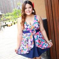 4XL 12XL Vintage Swimsuit Big Women Floral Print Swimwear Plus Size Boxers One Piece Swim Suit
