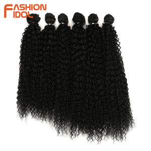 Image 2 - FASHION IDOL Afro Kinky Curly Synthetic Hair Extensions Bundles Ombre 6Pieces Heat Resistant Weave Hair Bundles For Black Women