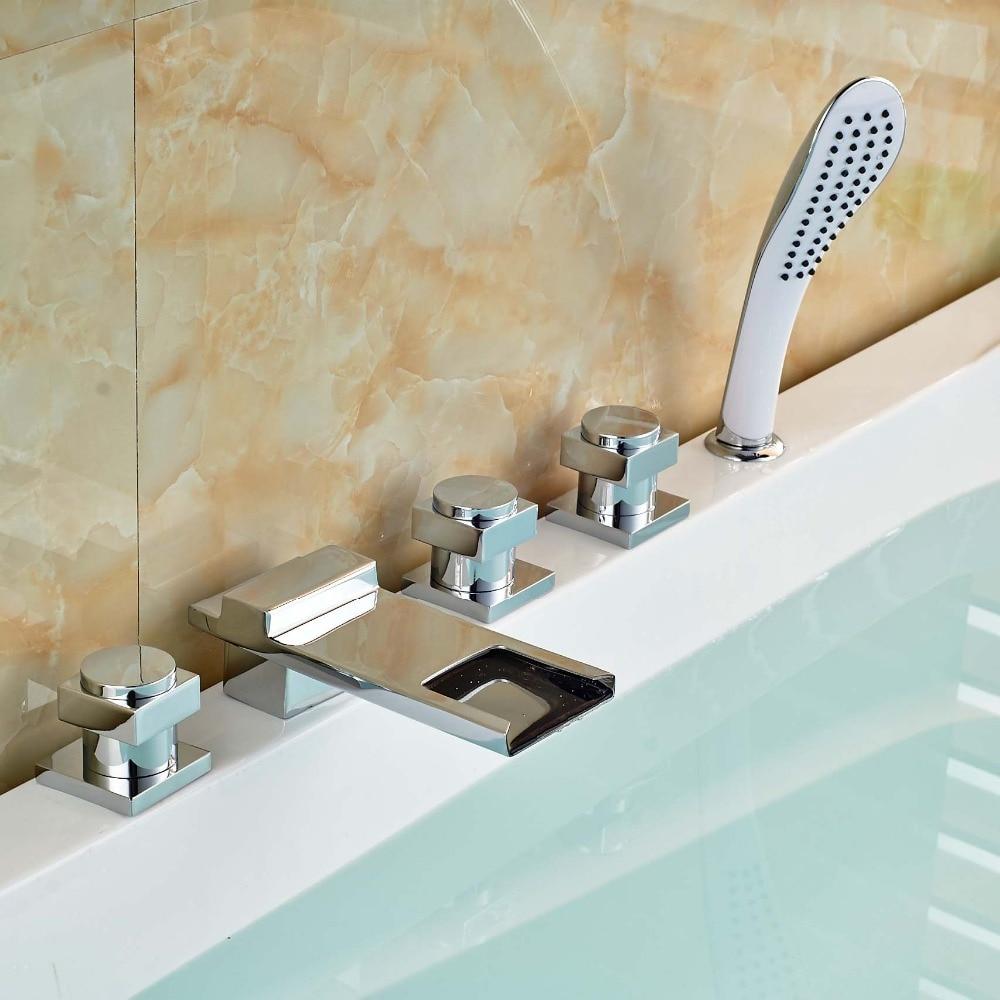Chrome Brass 3 Square Handles Tub Mixer Faucet Bathroom Bathtub Filler Waterfall Spout ABS Handshower bright chrome bathtub faucet three handles with handshower tub filler spout wall mounted shower faucets