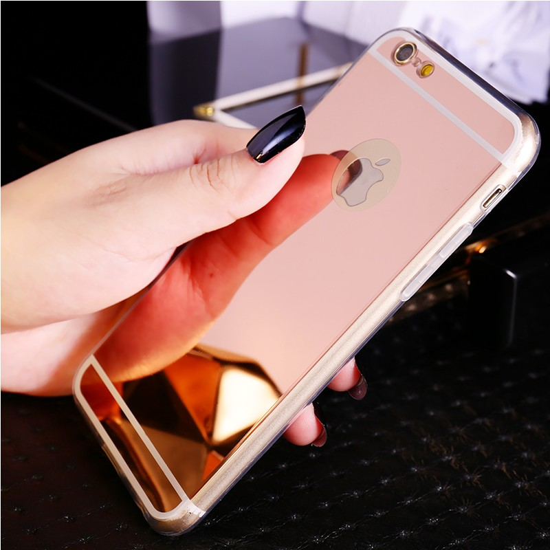Hot! Luxury Mirror Case Electroplating Soft Coque Clear TPU Case Back Cover Bags For iphone 6 Plus 6s Plus 5.5 Inch Cases Fundas