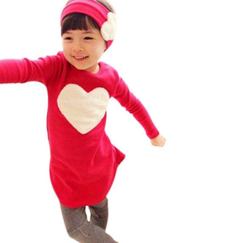 Осень/Зима Комплекты одежды для детей ясельного возраста детская одежда для девочек сердце рубашка платье + Леггинсы для женщин + повязка 3 ш...