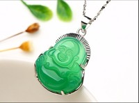 Fashion Pure 925 Sterling Silver Green Chinese 100% Natural /Jadeite Buddha Pendant With Certificate