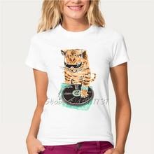 Cat with sunglasses DJ women shirt / girlie