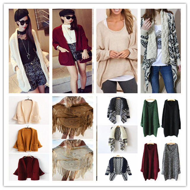 bba3d47398 Fashion Women Sweater Oversized Cable Knitted Jumper Batwing Sleeve Cardigan  Baggy Tops Ponchos Cozy Comfy Chunky
