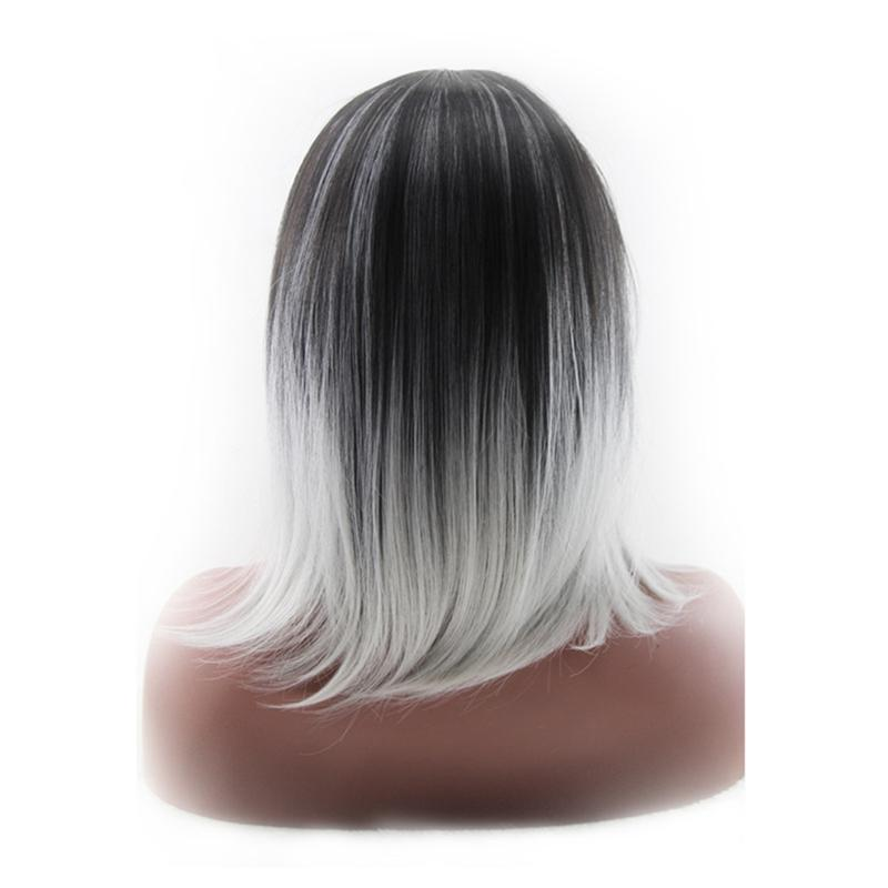 High-temperature Synthetic Shoulder Length Fiber 3/7 Part Straight Womens Ombre 2 Tones Full Wigs / Hair Dark Roots