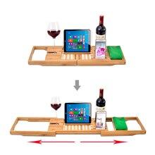 Выдвижной бамбуковый поднос для Ванной Caddy, поднос для ванной, деревянные стойки для ванной комнаты, регулируемый деревянный поднос для ванной/мост/полка, Органайзер