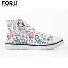 FORUDESIGNS Women Cartoon Nurse Print Vulcanized Shoes  Girls Classic High Top Canvas Casual Ladies Sneakers