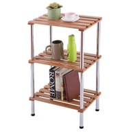 3 Tier Wooden Slat Storage Rack Display Shelving Stainless Steel Non folding Racks Floor Type Holder Home Organizer HW54111