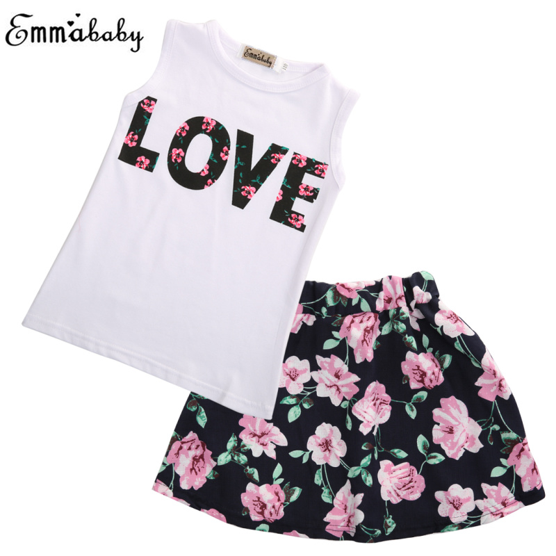 2pcs Set Girls Dress Suit Toddler Kids Baby Girl Clothes Love T-shirt Tank Tops+Floral Skirt A Line Skirts Clothes Outfits