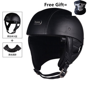 Image 2 - גולגולת כובע אופנוע קסדת בציר חצי פנים קסדת רטרו גרמנית סגנון ופר קרוזר