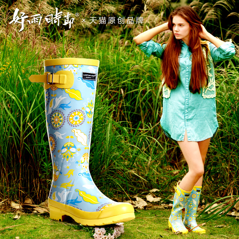 ФОТО Women's high boots printed fashion boots flowers The temperament of restoring ancient ways is tall canister boots prevent slippe