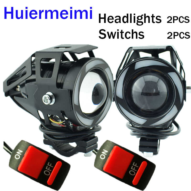 Huiermeimi 2PCS U7 5Color Motorcycle Headlights 12V 125W LED Motorbike Headlamp Moto Driving Fog Spot Head Lights Auxiliary Lamp