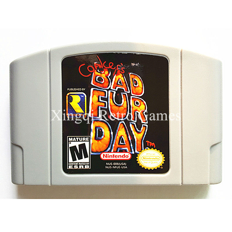 Nintendo N64 Game Conker`s Bad Fur Day Video Game Cartridge Console Card English Language US Version