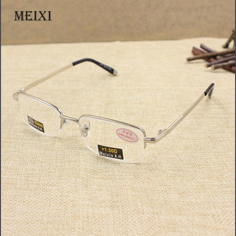 Men's High quality Half metal frame Aspherical resin lenses Reading Glasses male Eyewear 1.0 1.5 2.0 2.5 3.0 3.5 4.0