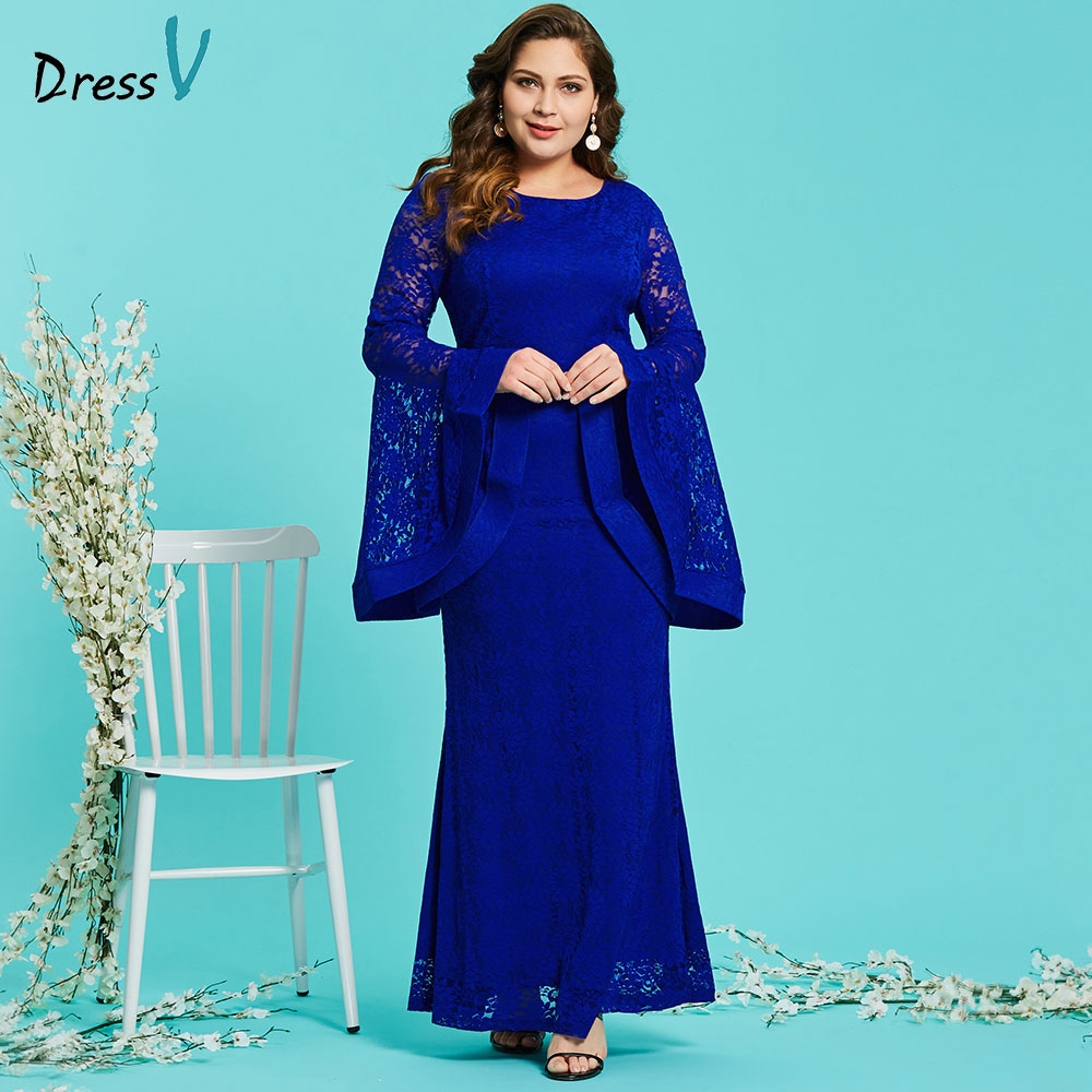 Dressv royal blue round neck plus size evening dress elegant mermaid long sleeves lace wedding party formal dress evening dress 2018 new fashion plus size lace embroidered dress women sexy round neck spring party gown big size chiffon mesh sleeves dresses