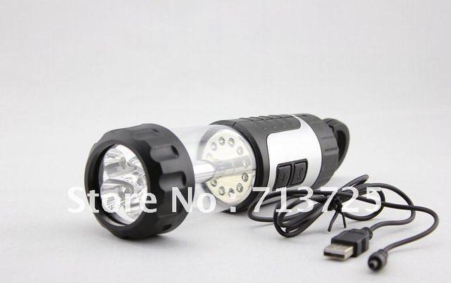 Free Shipping,Portable 17 LEDs Hand Crank Dynamo Camping Lantern, Led tent Light, Led Torch Light /Flashlight + USB Charge Cable