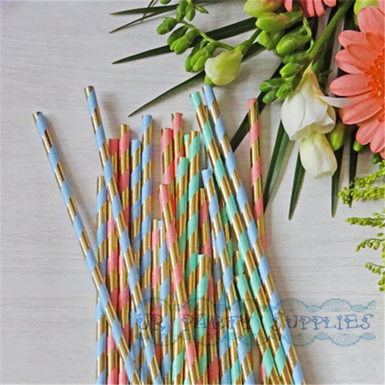 250pcs paper straw mint green gold foil striped paper straws bling bridal shower brunch glam baby shower decor wedding straws in disposable party tableware