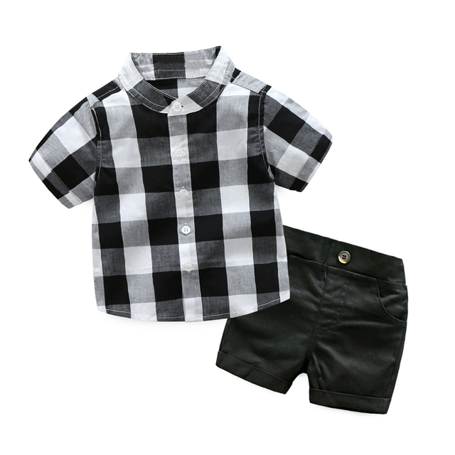 3fc5f0153fcea Plaid Shirt with Shorts Baby Boy Clothing Set For Toddler Boys Clothes  Formal Kids Suit Set White and Black Boy Suit Children
