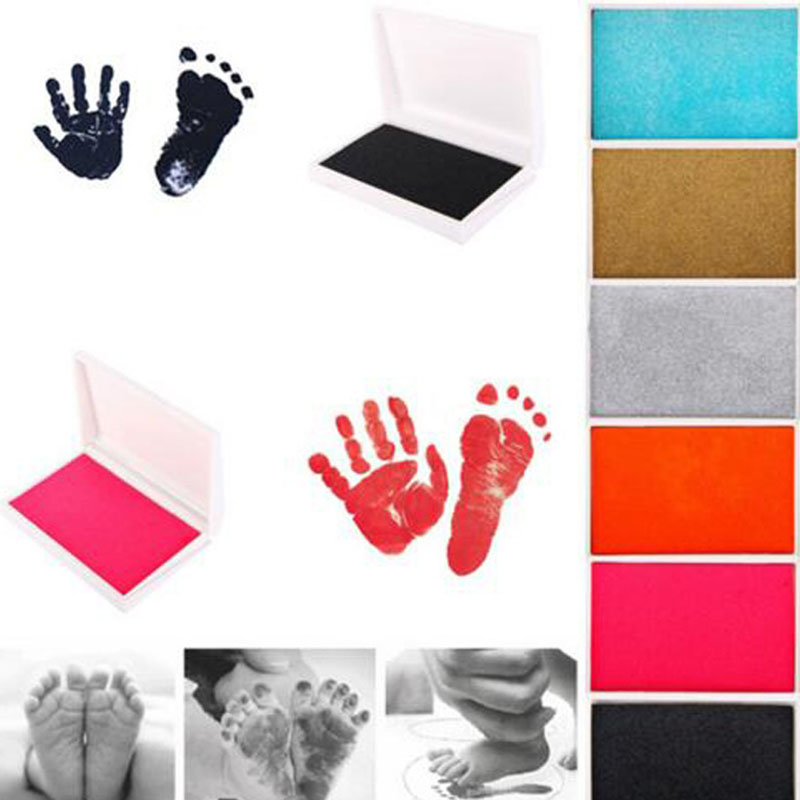 2pcs Baby Handprint Footprint Imprint Kit Inkpad Non-Toxic Newborn Souvenirs Casting Ink Pad Infant Clay Toys Cute Gifts