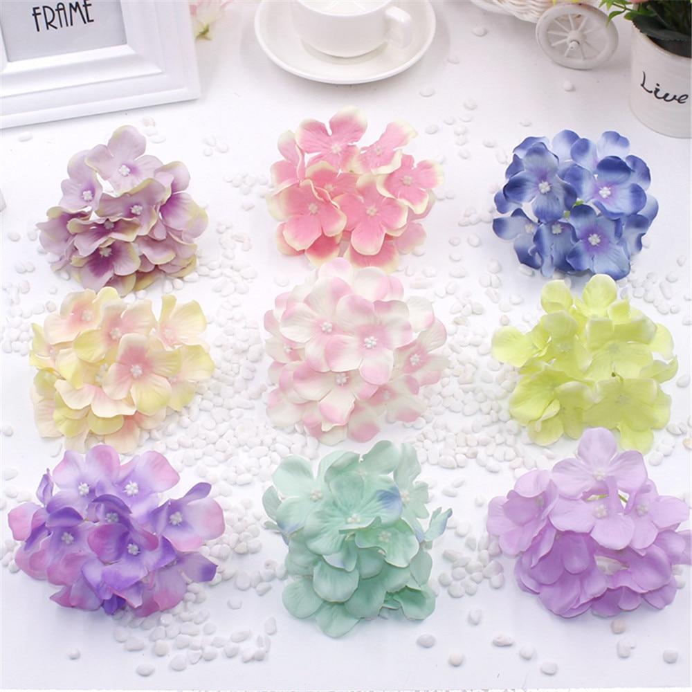 2pcs artificial silk decorative hydrangea heads simulation for Artificial flower decoration for home