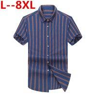 8XL 6XL 5XL Short Sleeve Formal Men's Striped Dress Shirts Social Turn down Collar Regular Fit Business Male Smart Casual Shirt