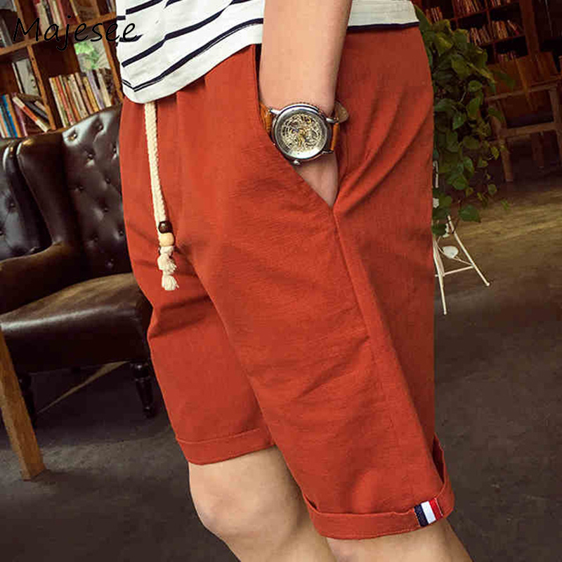 Summer Men Casual Shorts Mens Short Solid Thin Breathable Male Korean Style Loose Fashion Pockets Elastic Waist Students Trendy