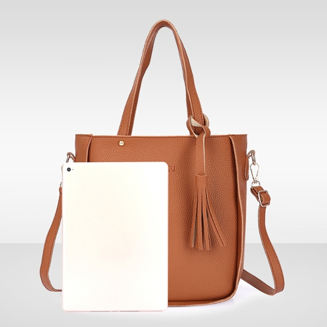 Thinkthendo 4 pçs feminina senhora moda bolsa de ombro tote bolsa mensageiro satchel conjunto 6